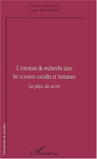 Couverture L'ENTRETIEN DE RECHERCHE DANS LES SCIENCES SOCIALES ET HUMAINES