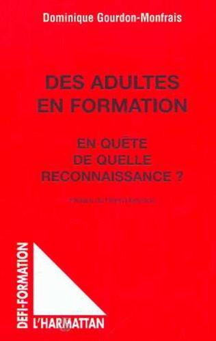 Couverture DES ADULTES EN FORMATION