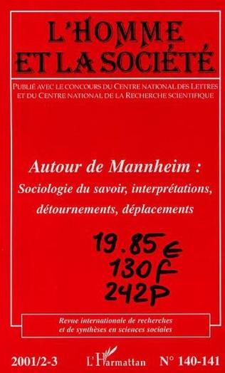 Couverture AUTOUR DE MANHEIM : sociologie du savoir, interprétations, détournements, déplacements