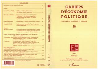 Couverture CAHIERS D'ÉCONOMIE POLITIQUE N° 38