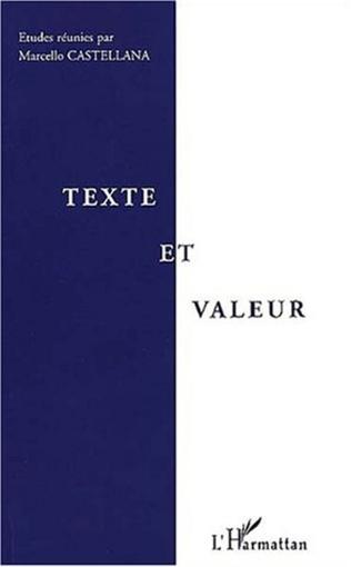 Couverture TEXTE ET VALEUR