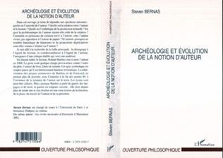 Couverture ARCHÉOLOGIE ET ÉVOLUTION DE LA NOTION D'AUTEUR