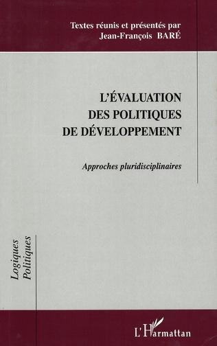 Couverture L'ÉVALUATION DES POLITIQUES DE DÉVELOPPEMENT