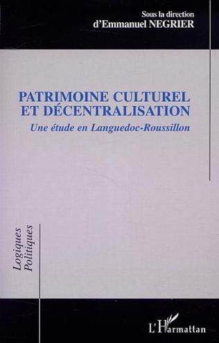Couverture PATRIMOINE CULTUREL ET DÉCENTRALISATION