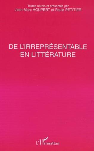 Couverture DE L'IRREPRÉSENTABLE EN LITTÉRATURE