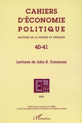 Couverture LECTURES DE JOHN R. COMMONS