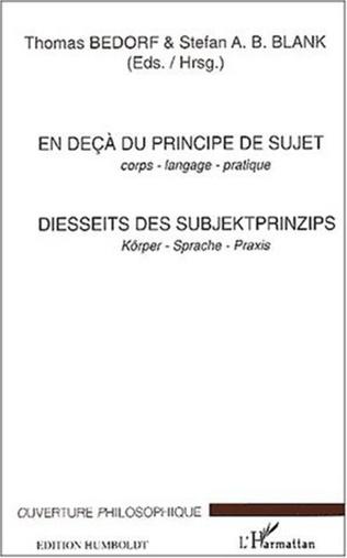 Couverture EN DEÇÀ DU PRINCIPE DE SUJET - Corps - langage - pratique