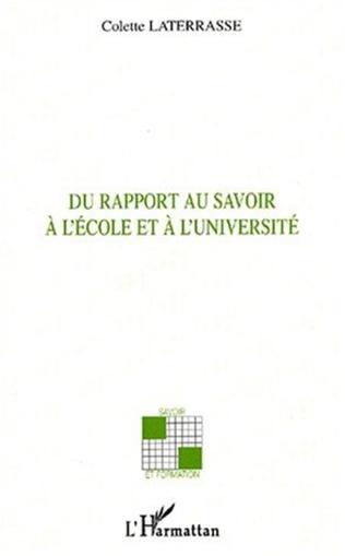 Couverture DU RAPPORT AU SAVOIR À L'ÉCOLE ET À L'UNIVERSITÉ