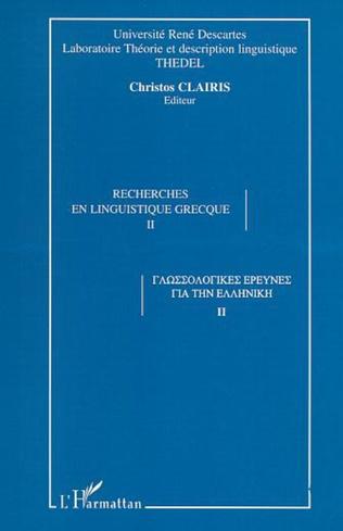 Couverture RECHERCHES EN LINGUISTIQUE GRECQUE