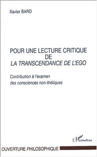 Couverture POUR UNE LECTURE CRITIQUE DE LA TRANSCENDANCE DE L'EGO