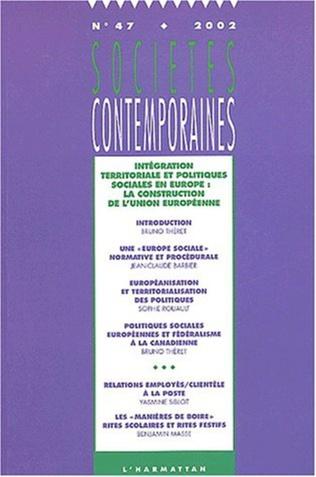 Couverture Intégration territoriale et politiques sociales en Europe : la construction de l'Union européenne