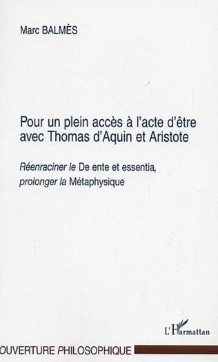 Couverture POUR UN PLEIN ACCES A L'ACTE D'ETRE AVEC THOMAS D'AQUIN ET ARISTOTE