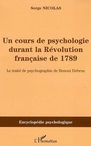 Couverture Cours de psychologie durant la Révolution française de 1789
