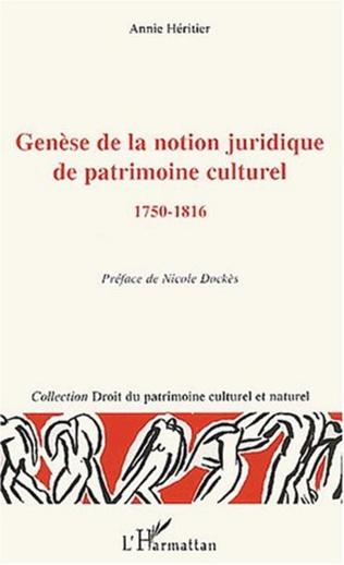 Couverture Genèse de la notion juridique de patrimoine culturel