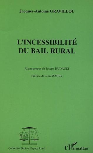 Couverture L'incessibilité du bail rural
