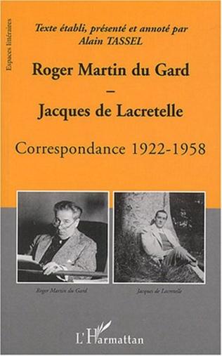 Couverture Roger Martin du Gard et Jacques de Lacretelle