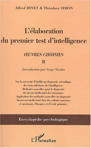Couverture L'élaboration du premier test d'intelligence (1904-1905)
