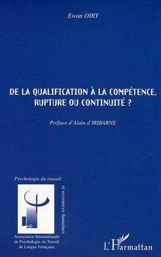 Couverture De la qualification à la compétence, rupture ou continuité ?