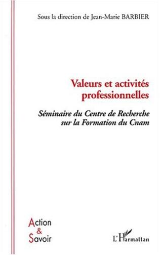 Couverture Valeurs et activités professionnelles