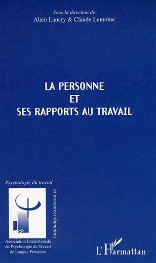 Couverture La personne et ses rapports au travail