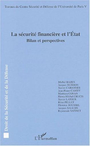 Couverture La sécurité financière et l'Etat