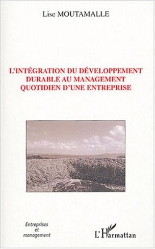 Couverture L'intégration du développement durable au management quotidien d'une entreprise
