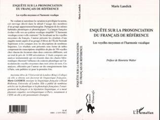 Couverture Enquête sur la prononciation du français de référence