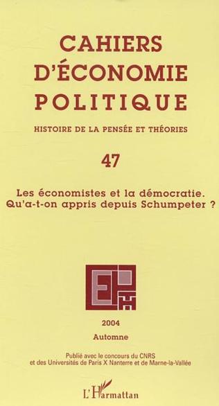 Couverture Les économistes et la démocratie. Qu'a-t-on appris depuis Schumpeter ?
