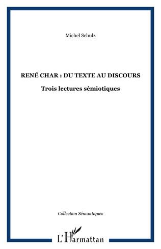 Couverture René Char : du texte au discours