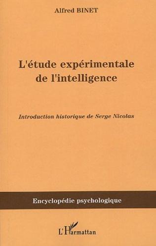 Couverture L'étude expérimentale de l'intelligence