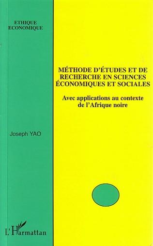 Couverture Méthode d'études et de recherche en sciences économiques et sociales