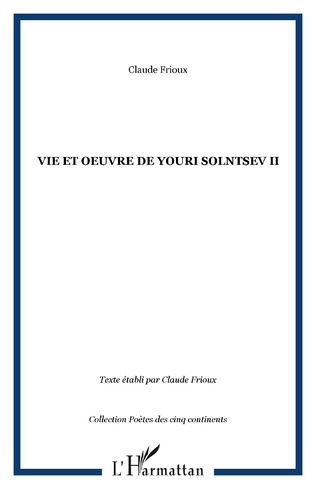 Couverture Vie et oeuvre de Youri Solntsev II