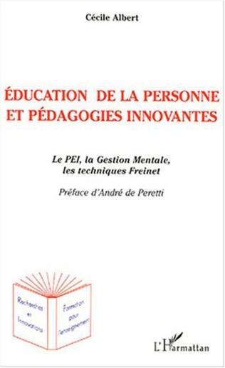 Couverture Education de la personne et pédagogies innovantes