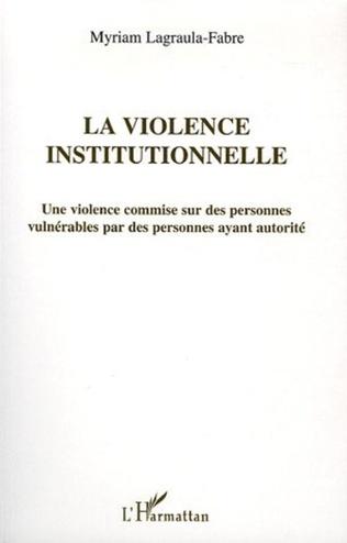 Couverture La violence institutionnelle
