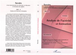 Couverture Analyse de l'activité et formation (revue savoir)