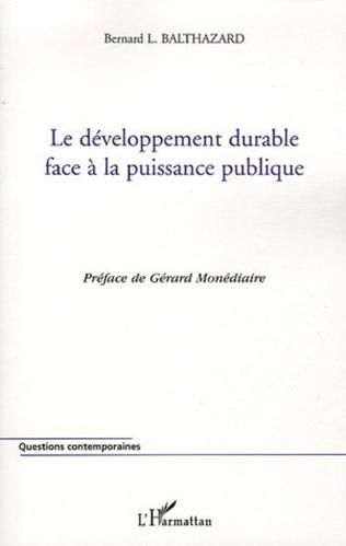 Couverture Le développement durable face à la puissance publique