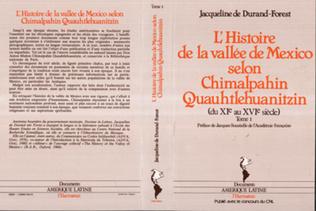 Couverture L'histoire de la vallée de Mexico selon Chimalpahin Quauhtlehuanitzin