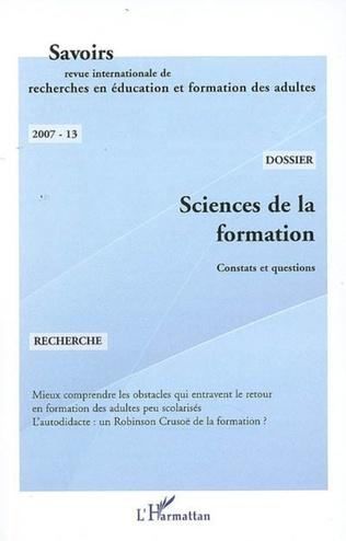 Couverture Sciences de la formation