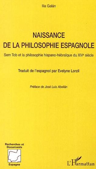 Couverture Naissance de la philosophie espagnole