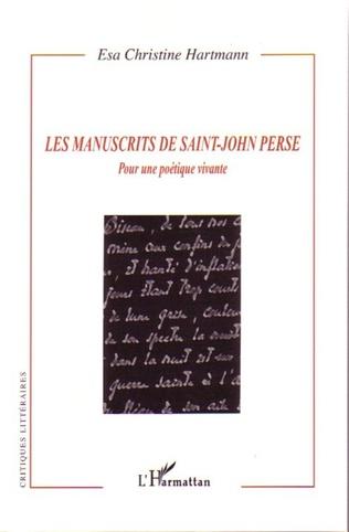 Couverture Les manuscrits de Saint-John Perse