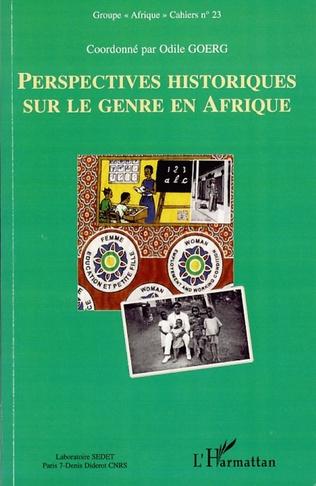 Couverture Perspectives historiques sur le genre en Afrique
