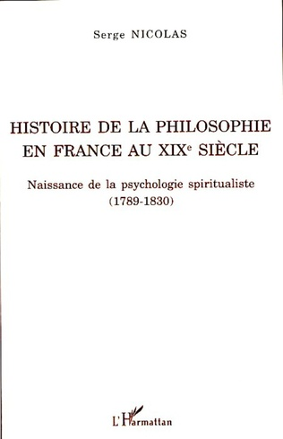 Couverture Histoire de la philosophie en France au XIXe siècle
