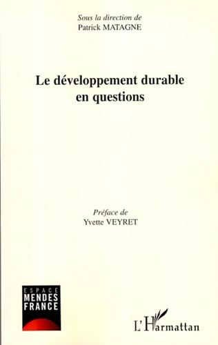 Couverture Le développement durable en questions