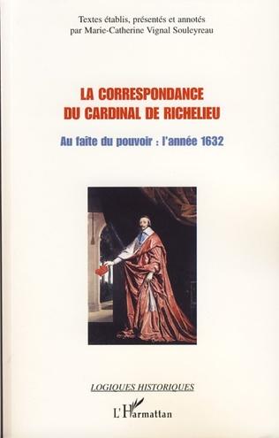 Couverture La correspondance du cardinal de Richelieu