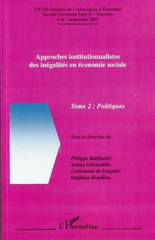 Couverture Approches institutionnalistes des inégalités en économie sociale