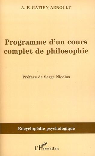 Couverture Programme d'un cours complet de philosophie