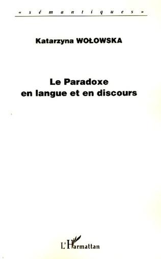 Couverture Le paradoxe en langue et en discours