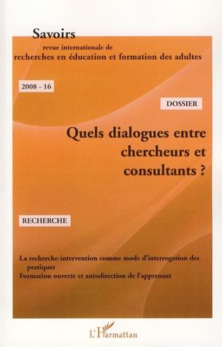 Couverture Quels dialogues entre chercheurs et consultants ?