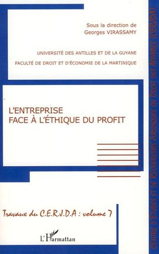 Couverture L'entreprise face à l'éthique du profit