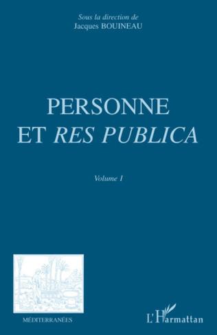 Couverture Personne et Res Publica Volume I